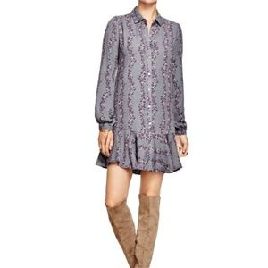 Free People Grey Gray Floral Long Sleeve Button Up